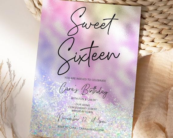 Sweet Sixteen 16 Party Invitation Printable Template, Pink Glitter Editable Invitation, 16th invite, Holographic Invite, 16 Foil Editable