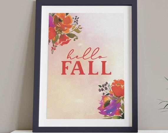 Hello Fall Orange Purple Digital Print | Printable Autumn Art | Fall Art | DIY Floral Wall Art | Kitchen Wall Decor | Instant Download