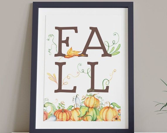 Fall Letters Pumpkins Vines Digital Print | Printable Autumn Art | Fall Art | DIY Floral Wall Art | Kitchen Wall Decor | Instant Download