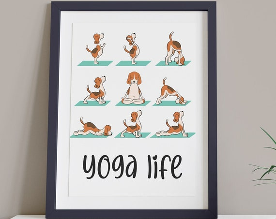 Beagle Dog Yoga Poses Art Digital Print | Printable DIY Art | Entry Hall Art Print | Puppy Wall Art | Relaxation Print | Yoga Chart Room Art