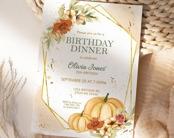 Fall Pumpkins Gold Frame Birthday Invitation,  Floral Autumn Leaves Invitation, Printable Dinner Lunch Party, Editable Template for Women