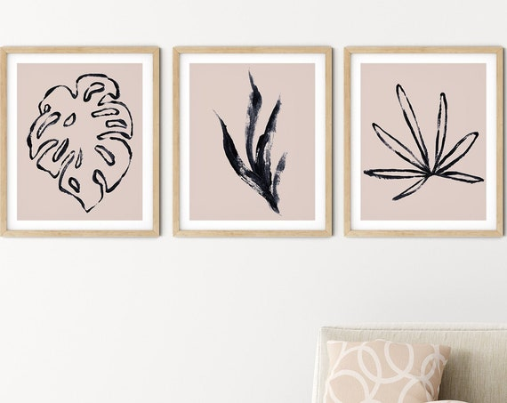 Tropical Blush Black Art Print Set | Printable Palm Monstera Art | Art Print | Botanical Wall Art | DIY Living Room Wall Art | Set 3 Prints