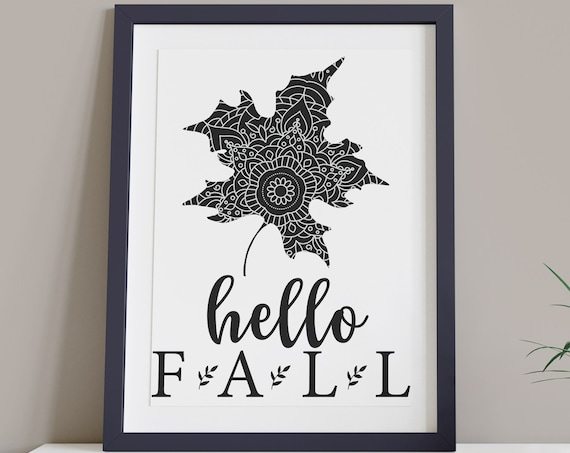 Hello Fall Black White Modern Leaf Digital Print | Printable Autumn Art | DIY Mandela Wall Art | Contemporary Style Art | Instant Download