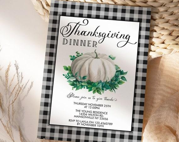 Thanksgiving Dinner Party Invitation, White Pumpkin Invite, Friends Family Party at Home, Turkey Dinner Invite, Fall Autumn Buffalo Check