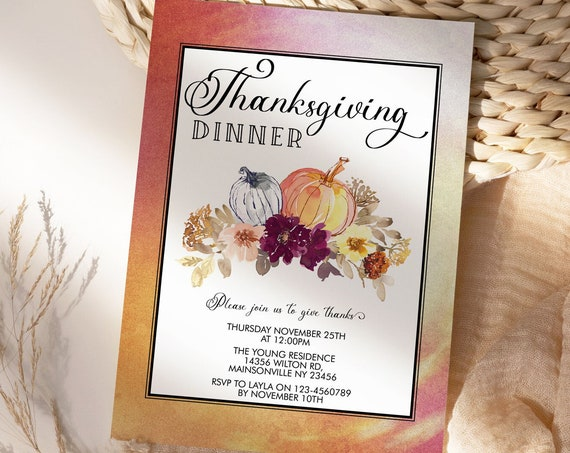 Thanksgiving Dinner Party Invitation, Watercolor Pumpkin Invite, Friends Family Party at Home, Turkey Dinner Invite, Fall Autumn Floral
