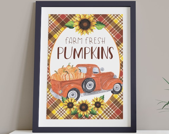 Farm Fresh Pumpkin Digital Print | Printable Autumn Art | Fall Country Print | DIY Plaid Wall Art | Farmhouse Style Art | Instant Download