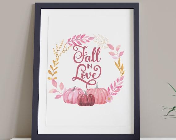 Fall in Love Pink Pumpkin Digital Print | Printable Autumn Art | Fall Art | DIY Romantic Wall Art | Bedroom Wall Decor | Instant Download