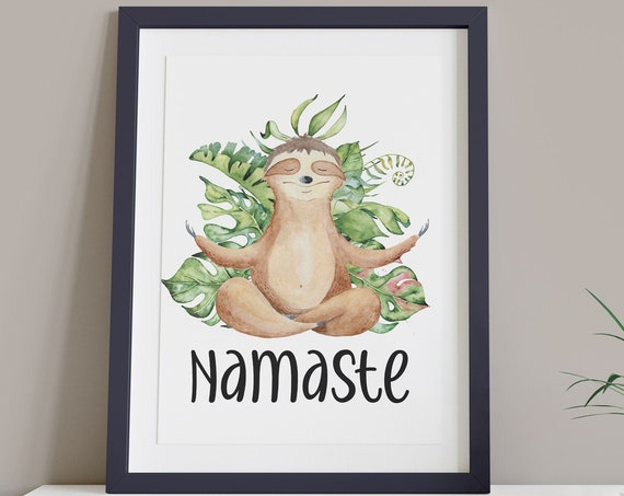 Namaste Sloth Yoga Art Digital Print | Printable Plant Art | Entry Hall Art Print | Tropical Wall Art | Relaxation Print | Yoga Room Art
