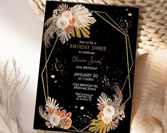 Boho Gold Frame Pampas Grass Black Birthday Invitation, Palm Leaves Invitation, Printable Dinner Party, Editable Template Women, Tropical