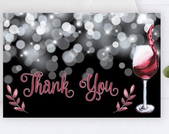 Red WineThank You Card, Birthday Thanks, Glam Thank You, Printable Thank Yous Card, Sparkle Thank You, Thanks Wedding, Fine like wine