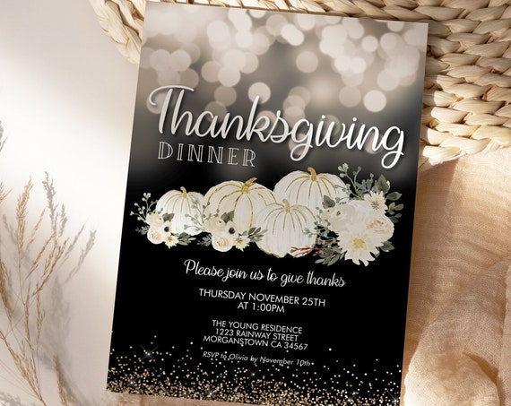 Thanksgiving Dinner Party Invitation, White Gold Pumpkin Invite, Friends Family Party at Home, Turkey Dinner Invite, Fall Autumn Floral