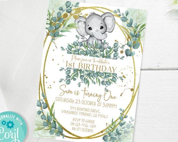 Elephant 1st Birthday Invitation Printable Template, Eucalyptus One Editable, Number 1st First Birthday, Tropical Greenery Gold Glitter