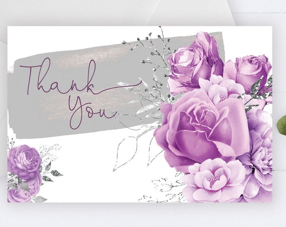 Lilac Roses Thank You Card , Purple Flowers, Lavender Thank You, Printable Thank You Card, Purple Roses