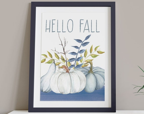 Hello Fall Blue White Pumpkin Digital Print | Printable Autumn Art | Fall Art | DIY Black Wall Art | Kitchen Wall Decor | Instant Download