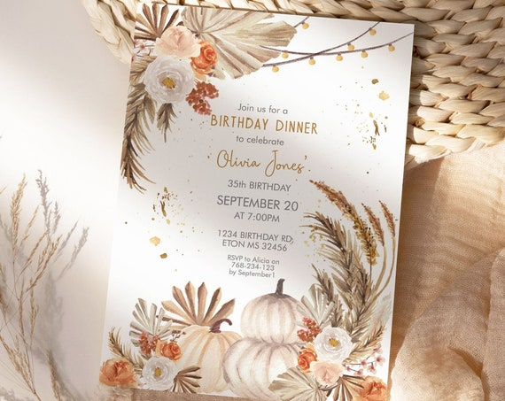 Fall White Pumpkins Pampas Grass Birthday Invitation, Autumn Palm Leaves Lights, Printable Dinner Party, Editable Template for Women