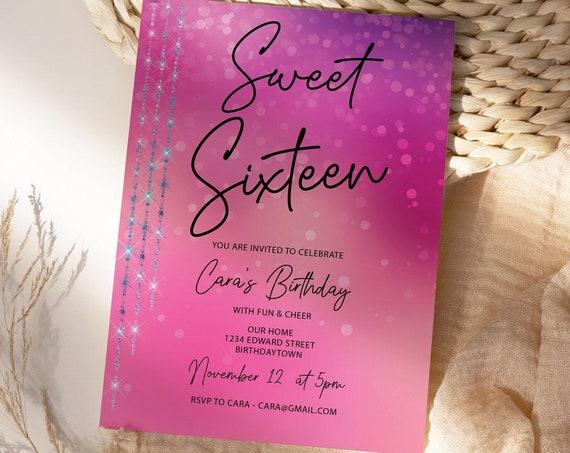 Sweet 16 Party Invitation Printable Template, Bright Pink Editable Invitation, 16th Birthday, Purple Lights, 16  Magenta Editable Invite