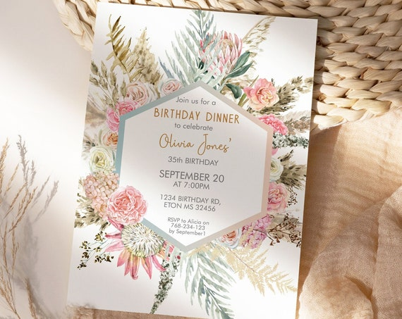 Pink Protea Pampas Grass Birthday Invitation,  Dried Foliage Palm Leaves Invitation, Printable Dinner Party, Editable Template for Women