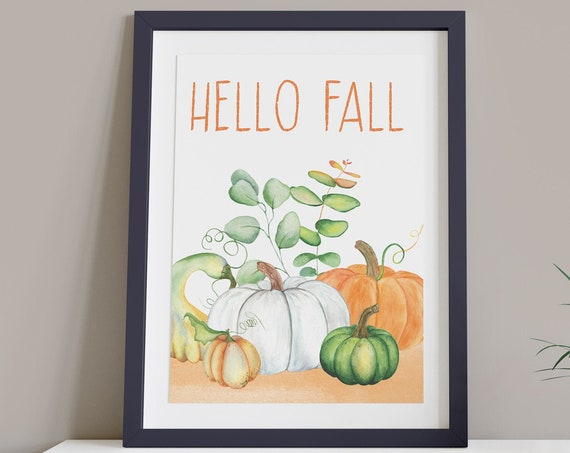 Hello Fall Orange Green Pumpkin Digital Print | Printable Autumn Art | Fall Art | DIY Wall Art | Kitchen Wall Decor | Instant Download