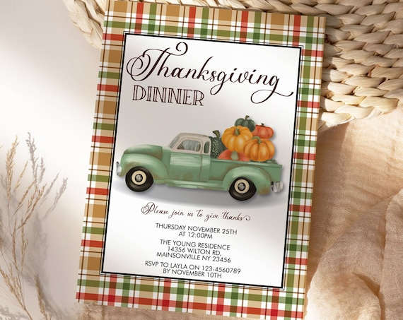 Thanksgiving Dinner Party Invitation, Old Truck Pumpkin Invite, Friends Family Party at Home, Turkey Dinner Invite, Fall Autumn Plaid Colors