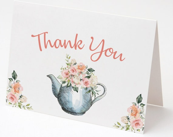 INSTANT DOWNLOAD - Thank You Card , Teapot Floral, Printable Thank You Card, Pink Roses Thanks, Baby Shower, Bridal Shower, Folded Card