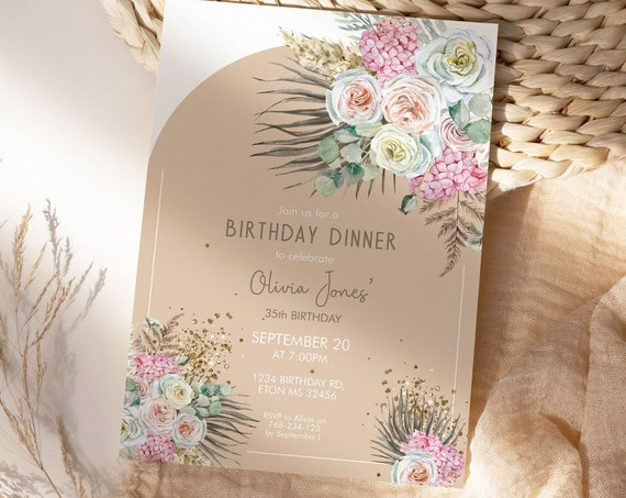 Tropical Beige Floral Birthday Invitation,  Dried Foliage Palm Leaves Rose Invitation, Printable Dinner Party, Editable Template for Women