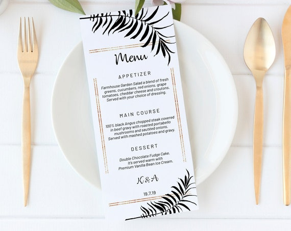 Black & Gold Leaves Menu, DIY Editable Menu, Menu Cards, Printable Menu, Tropical Wedding Menu, Party Menu, Menu Download, Birthday Menu
