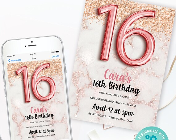 16th Birthday Marble Rosegold Balloons Invitation Printable Template, Sweet Sixteen Editable, Rose gold Glitter  Party Invite, Teen Party