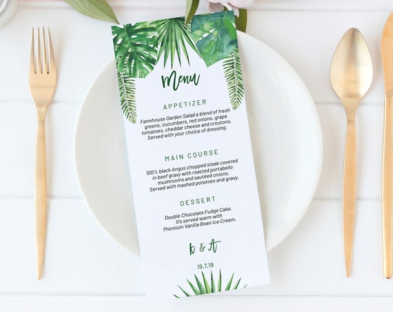 Tropical Green Leaves Menu, DIY Editable Menu, Menu Cards, Printable Menu, Tropical Wedding Menu, Party Menu, Menu Download, Beach Food Menu