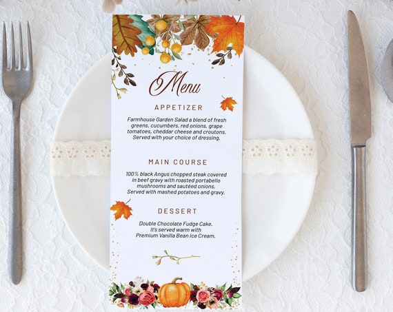 Thanksgiving Dinner Menu, DIY Editable Menu, Menu Cards, Printable Menu, Floral Pumpkin Menu, Turkey Day Menu, Menu Download, Flowers Menu