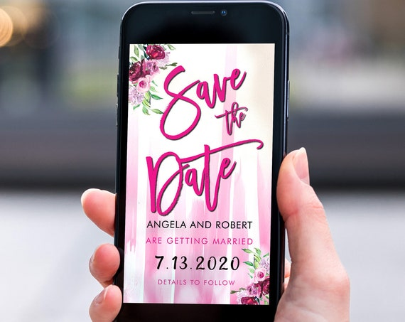 Hot Pink Save the Date, Electronic Invite, Floral Invitation, Stripe Bright Wedding, Smart phone SMS Digital Editable template, Eco Friendly
