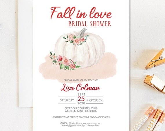 Fall in Love White Pumpkin Bridal Shower Invitation, Pink Rose Shower Invitation, Printable Bridal Shower, Floral Romantic Editable Template