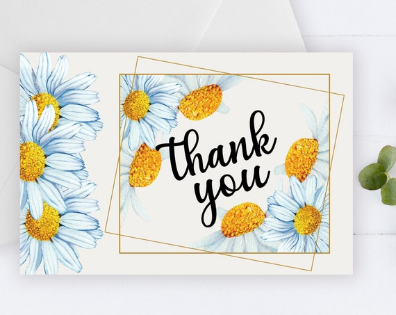 White Daisy Thank You Card, Country Flowers, Rustic Thank You, Printable Thank Yous Card, Shower Thank You, Thanks Wedding, Yellow Daisy