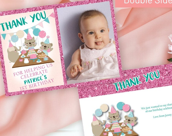 Pink Baby Animal Photo Thank You Card, Girls Printable Thank You Card, Birthday Thank You, Thanks Childrens Party, Pink Glitter Photo Card