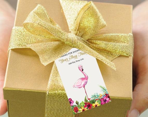 Flamingo Thank You Tag , Gold Glitter Pink Flamingo, Summer Spring, Tropical Thank You, Printable Thank You Tag, Pink Flamingo,