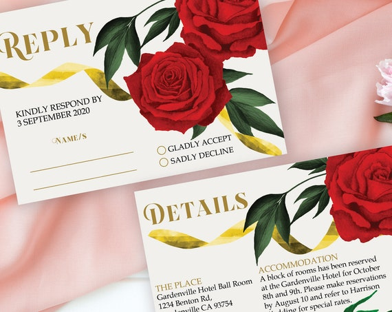Red Roses Wedding Reply Details, Beauty Beast Theme RSVP, Rehearsal Reply, Watercolor Red Rose Cards, Printable, Editable Details Template