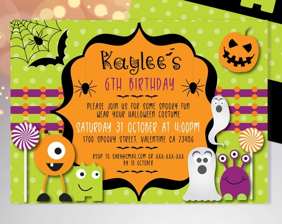 Halloween Kids Monster Birthday Invitation Printable Template, Pumpkin Party, Printable Spooky Fright Night Invite, Costume Party Invite