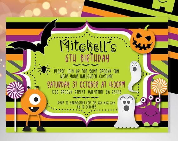 Halloween Kids Monster Birthday Invitation Printable Template, Pumpkin Party, Printable Spooky Fright Night Invite, Costume Party Invite