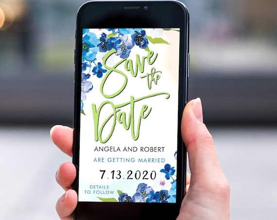 Blue Floral Save the Date, Electronic Invite, Floral Invitation, Bright Wedding, Smart phone SMS Digital Editable template, Eco Friendly