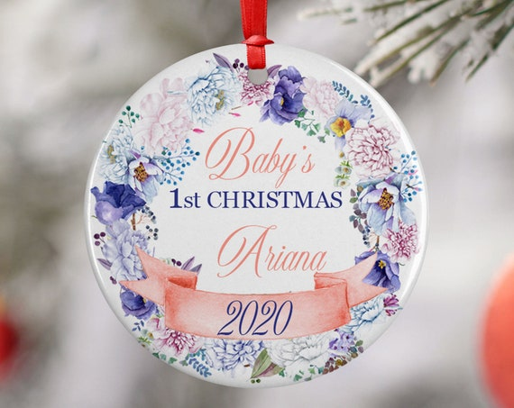Pink Personalized 2020 Babys First Christmas Ceramic Round Decoration Ornament Keepsake, First Child Ornament, Pink Floral Baby Xmas