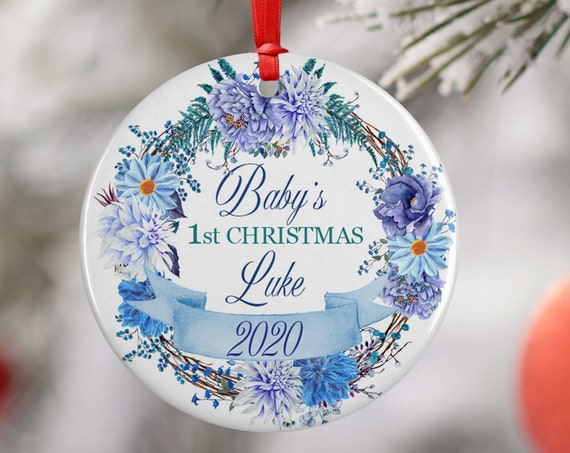 Blue Personalized 2020 Babys First Christmas Ceramic Round Decoration Ornament Keepsake, First Child Ornament, Blue Floral Baby Xmas
