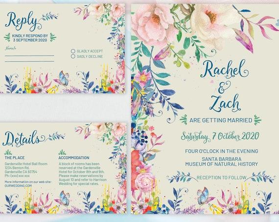 Bright Floral Wedding Invitation Set, Jewel Color Theme Suite, Rehearsal Invitation, Watercolor Invitation, Printable, Editable Template