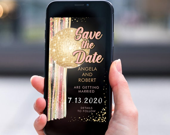 Pink Gold Disco Ball Save the Date, Electronic Invite, Glamorous 80s Theme Wedding, Smart phone SMS Digital Editable template, Eco Friendly