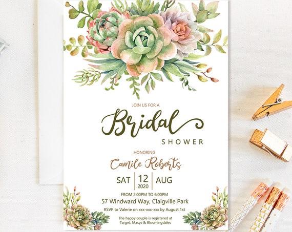 Succulent Floral Bridal Shower Invitation, Green Shower Invitation, Printable Bridal Shower, Editable Template, Watercolor Cactus Bouquet