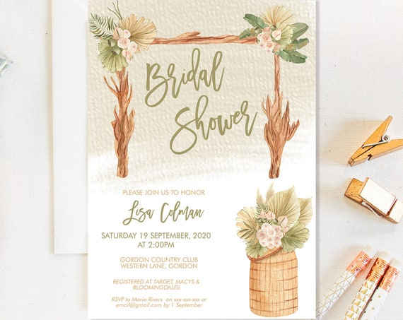 Boho Arch Garden Bridal Shower Invitation, Modern Plant Baskets Shower Invitation, Printable Bridal Shower, Tropical Editable Template