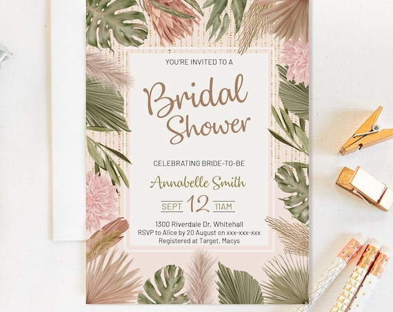 Tropical Leaves Bridal Shower Invitation, King Protea Shower Invitation, Printable Bridal Shower, Pampas Palm Greenery Editable Template