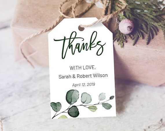 Green Branch Thank You Tag, Wedding Favors,  Botanical Tag, Instant Download, Party Thanks Tag, Thanks Label, Eucalyptus Thank You Tags