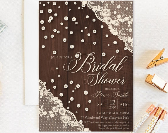 Ivory Lace Pearls Bridal Shower Invitation, Wood Rustic Cream Shower Invitation, Printable Bridal Shower, Editable Template, Country Charm