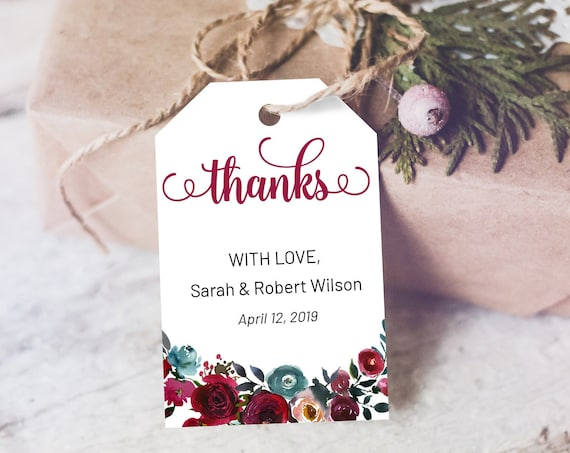 Winter Burgundy Floral Thank You Tag, Wedding Favors, Winter Thank You Tag, Instant Download, Party Thanks Tag, Thanks Label, Maroon Thanks