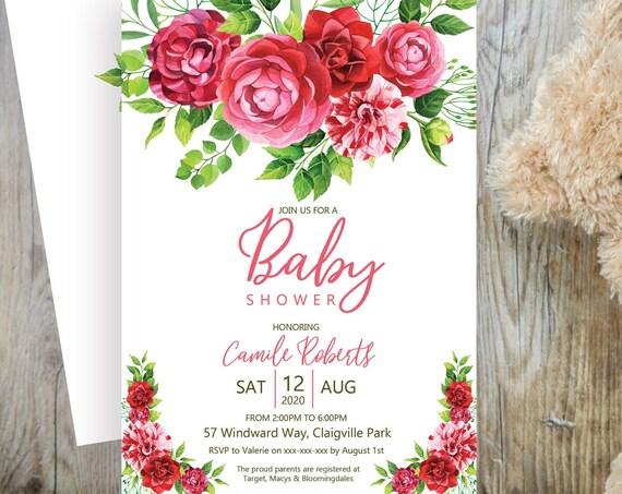 Camelia Garden Baby Shower Invitation, Pink Floral Shower Invitation, Flower Printable Baby Shower, Editable Template, Watercolor Shower