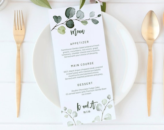 Greenery Wedding Menu, Editable Leaf Menu, Menu Cards, Printable Menu, Green Wedding Menu, Party Menu, Menu Download, Wedding Table Decor